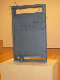 bronze window in downstairs gallery
