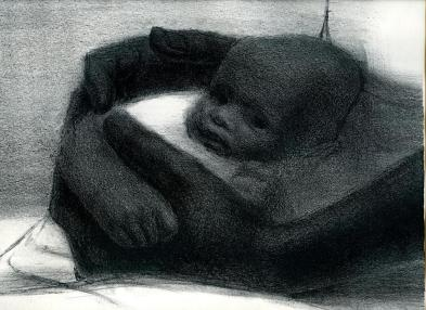 "Detail of ""Father and Child,"" a 1964 lithograph by John Wilson"