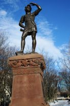 When Boston philanthropist Eben N. Horsford commissioned the statue, some people believed that Eriksson and his crew landed on the shore of Massachusetts.