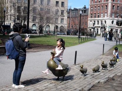 Make Way for Ducklings statue, early April