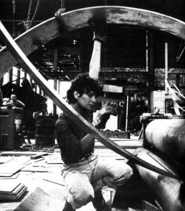 Beverly at work in factory 1963