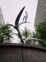 The cast bronze sculpture I have designed depicts three ibis ascending.