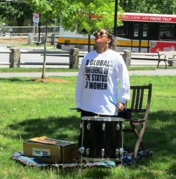 One of many musicians performing throughout the Common as part of Xaviera Simmons' Number 22 ( Overlay)