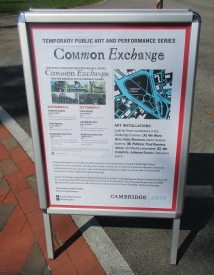Signs like this placed at points throughout the Cambridge Common offered schedule updates.