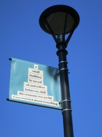 One of many banners in We Were Here:memories of Cambridge Common coordinated by Kelly Sherman.