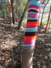 Arch wanted each tree to have about 20 feet of knit work, so she divided each tree into five sections, each about 48 inches high.