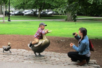 Child on Mrs. Mallard in Boston Public Garden