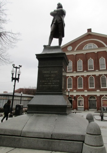 Samuel Adams outside Faneuil Hall