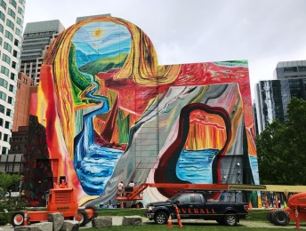 Artists from Overall Murals completing Carving Out Fresh Options, May 26, 2018