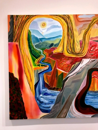 Left side, Shara Hughes, Carving Out Fresh Options, 2018, oil on canvas, Overall: 68 x 104 inches (172.7 x 264.2 cm)
